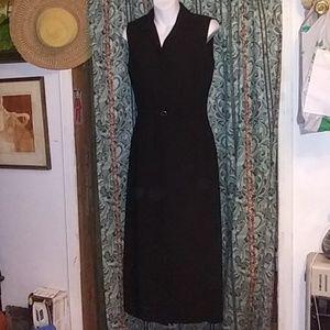 Ann Taylor Black Sleeveless Button up Dress